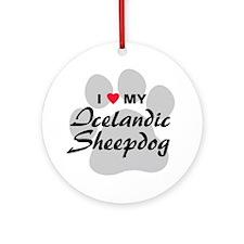 Love My Icelandic Sheepdog Ornament (Round)