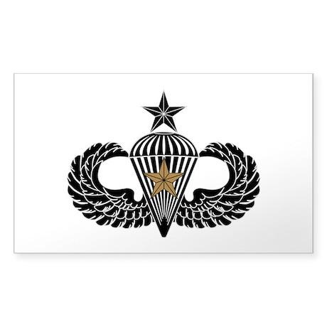 Combat Parachutist 1st Award Sr. B-W Sticker (Rect