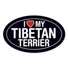 I Love My Tibetan Terrier Oval Sticker/Decal
