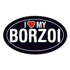 I Love My Borzoi Oval Sticker/Decal