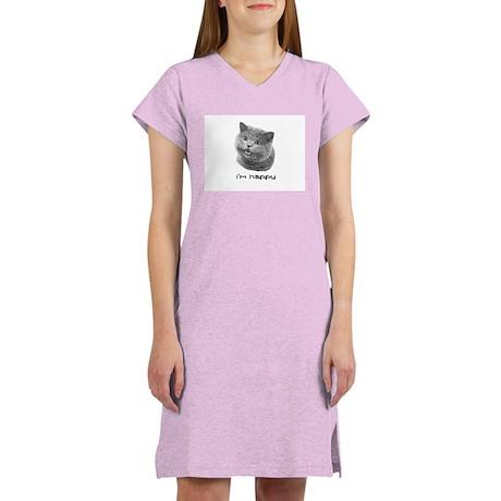 Women's Happy Cat Nightshirt (white)