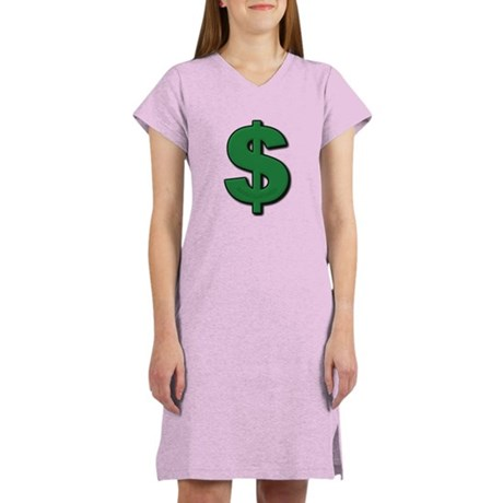 Green Dollar Sign Women's Nightshirt