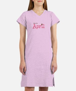 due in April brown pink Women's Nightshirt