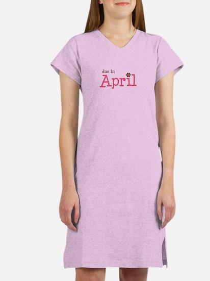 due in April brown pink Women's Nightshirt