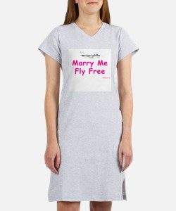 Marry Me, Fly Free (Pink) Women's Pink Nightshirt