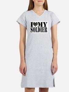 I Love My Soldier Women's Pink Nightshirt