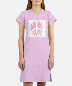 Girly Pink Peace Sign Women's Nightshirt
