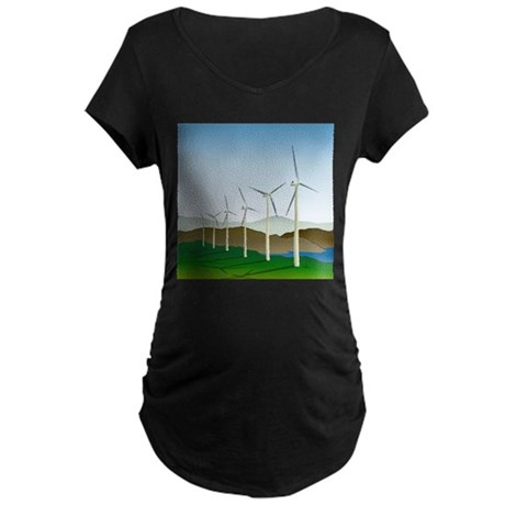 Wind Turbine Generator Maternity Dark T-Shirt