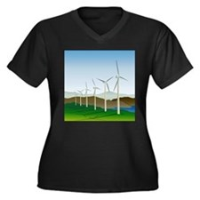 Wind Turbine Generator Women's Plus Size V-Neck Da