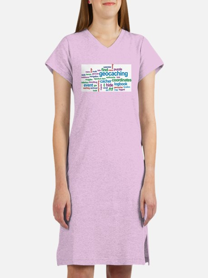 Geocaching Word Cloud Women's Nightshirt