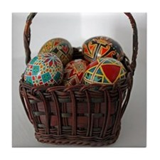 Pysanky Basket Tile Coaster