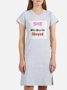 She who..... Women's Pink Nightshirt
