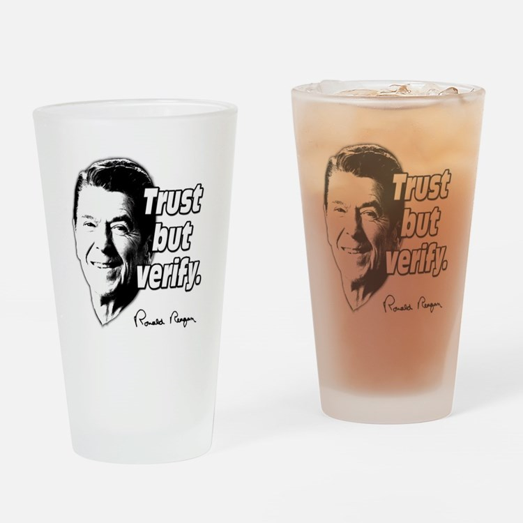 Ronald Reagan Quote Trust But Verify Drinking Glas