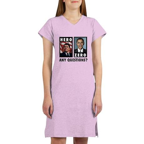 Reagan HERO, Obama ZERO. Any Women's Nightshirt