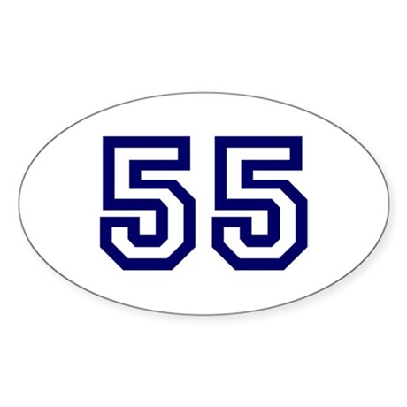 Number 55 Oval Sticker