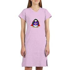 Superhero penguin Women's Pink Nightshirt