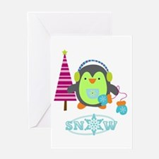Snow Penguin Greeting Card