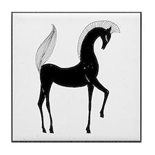 Greek Horse Black and White Tile Coaster