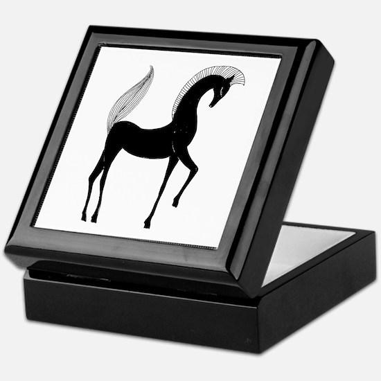 Greek Horse Black and White Keepsake Box