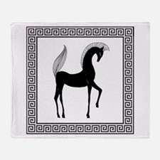 Greek Horse Black and White Throw Blanket