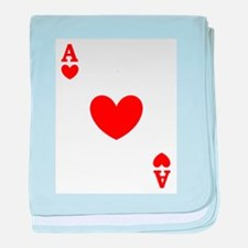 Ace of hearts card player baby blanket