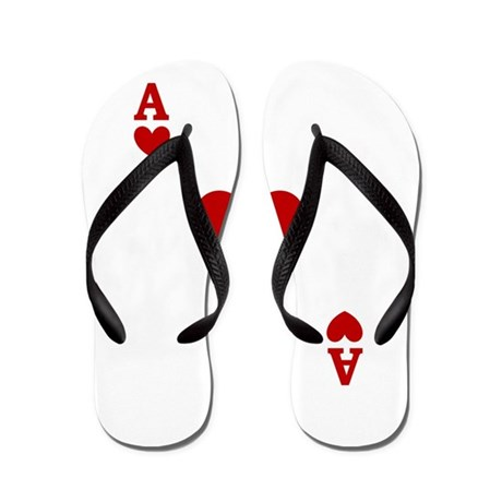 Ace of hearts card player Flip Flops
