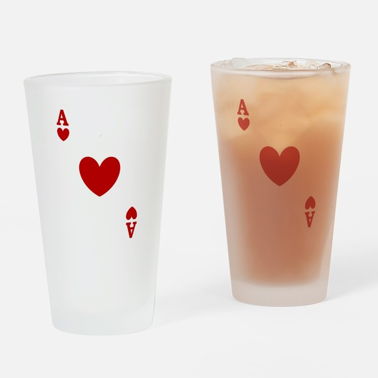 Ace of hearts card player Drinking Glass