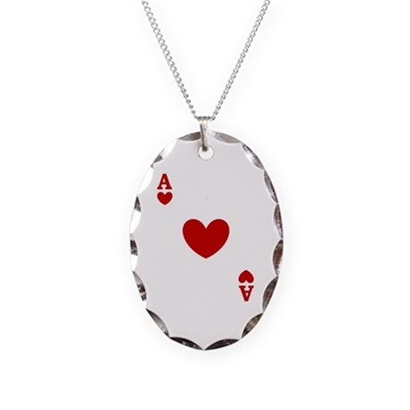 Ace of hearts card player Necklace Oval Charm