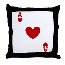 Ace of hearts card player Throw Pillow