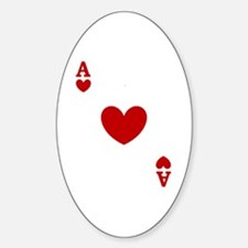 Ace of hearts card player Sticker (Oval)
