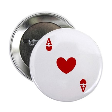 "Ace of hearts card player 2.25"" Button (100 pack)"