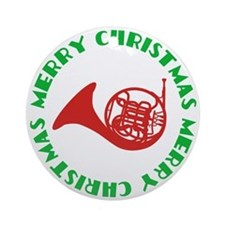 French Horn Merry Christmas Ornament