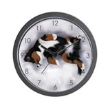 Bernese mountain dog silhouette Wall Clocks