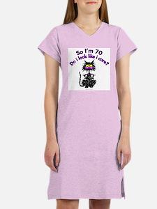 70th BIRTHDAY CAT Women's Pink Nightshirt