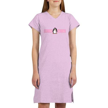 Pink Ribbon Penguin Women's Nightshirt