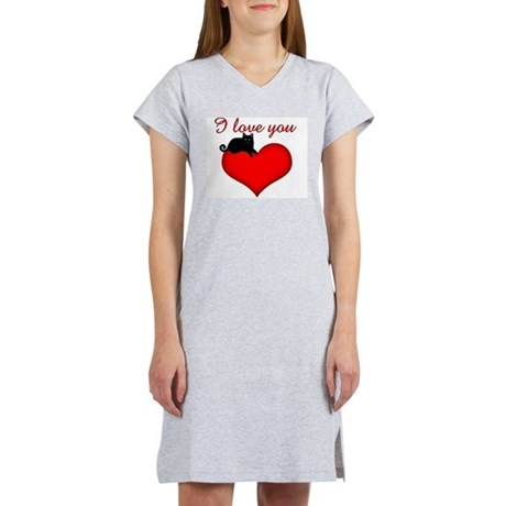 I Love you (black cat) Women's Nightshirt