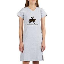 Brown Chicken N Cow W/Txt Women's Nightshirt