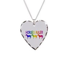 Horses Rule Necklace Heart Charm