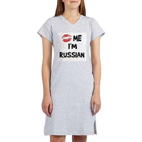 Kiss Me I'm Russian Women's Pink Nightshirt
