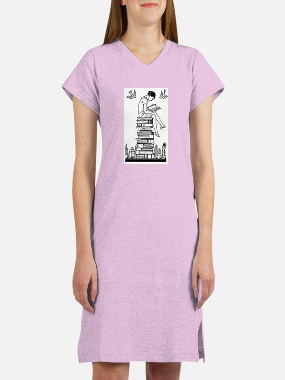 Girl reading atop books Women's Nightshirt