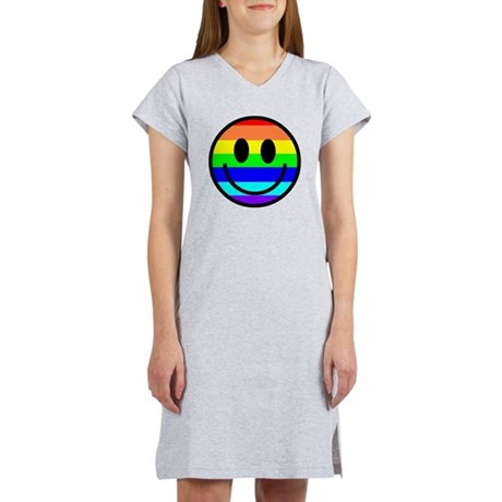 Basic Rainbow Smiley Face Women's Nightshirt