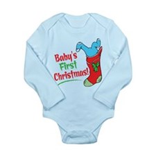 BABY'S FIRST CHRISTMAS (BOY) Long Sleeve Infant Bo