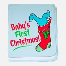 BABY'S FIRST CHRISTMAS (BOY) baby blanket
