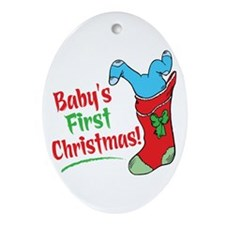 BABY'S FIRST CHRISTMAS (BOY) Ornament (Oval)