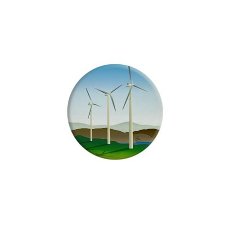 Circular Green Energy Art Mini Button