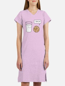 Cute Cookie and milk Women's Nightshirt
