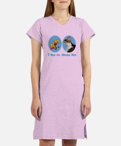 T Rex vs Devon Rex Women's Nightshirt
