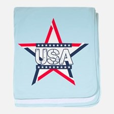 USA American Flag Stars Stripes baby blanket