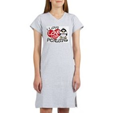 I Love Love Love Penguins Women's Pink Nightshirt