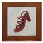 Vintage Red Shoe Painting on Tile